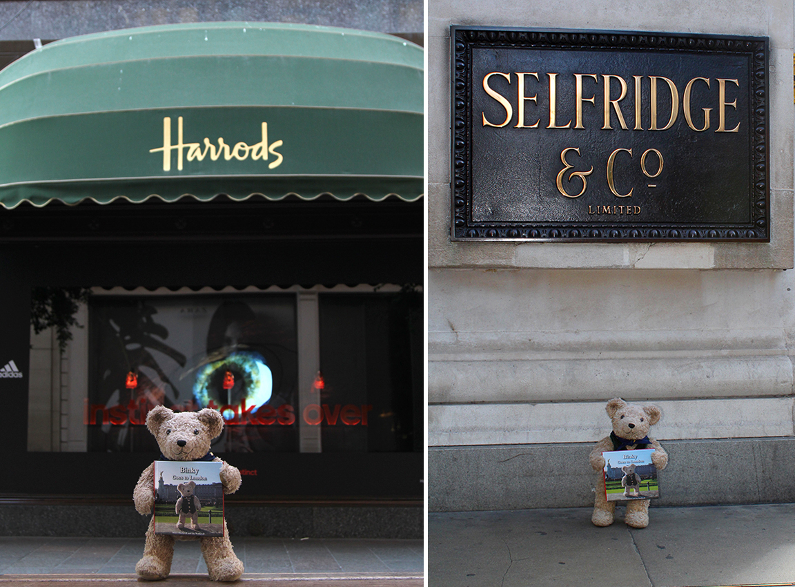binky moves up in the world to harrods and selfridges binky bear. Black Bedroom Furniture Sets. Home Design Ideas