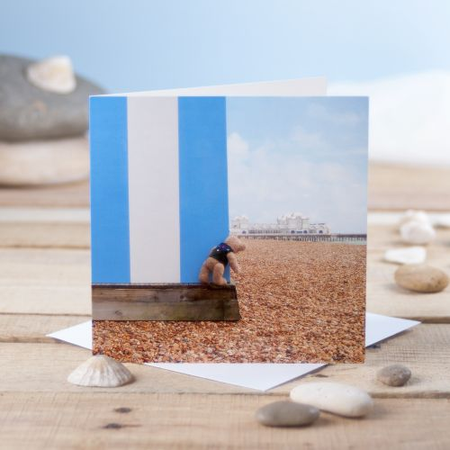 Binky's Beach Hut Greetings Card