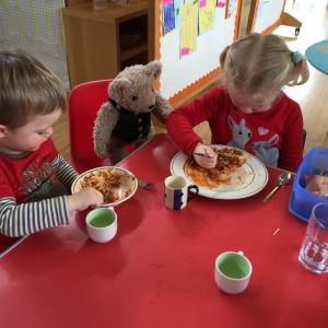 Binky Bear Eats Lunch At Meon Springs Montessori