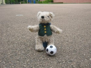 binky-bear-plays-football-at-woodlands-primary