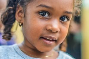 A confident child makes eye contact