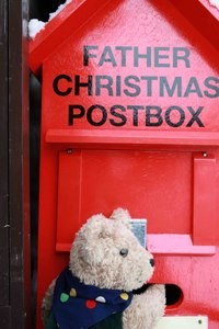 Binky Bear and the red post box in Alresford