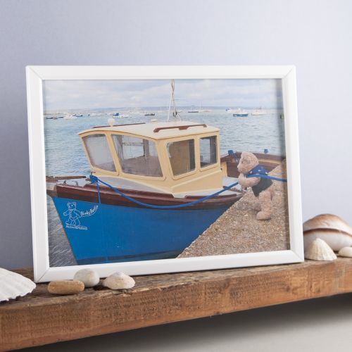 Binky Bear and the blue boat print