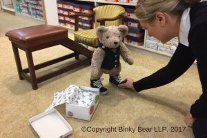Binky Bear finds the perfect pair of boots