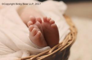Binky Bear photo of new-born's feet